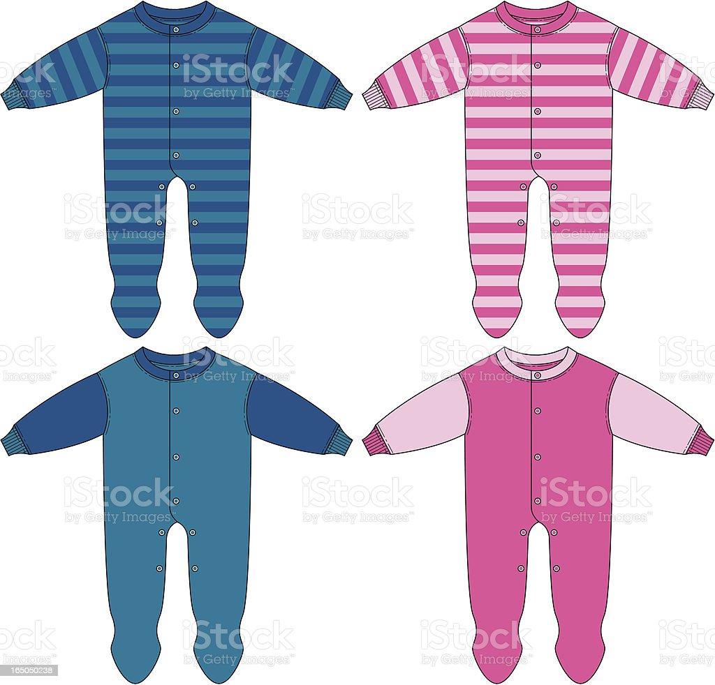 Baby Boy & Girls Sleepsuit vector art illustration