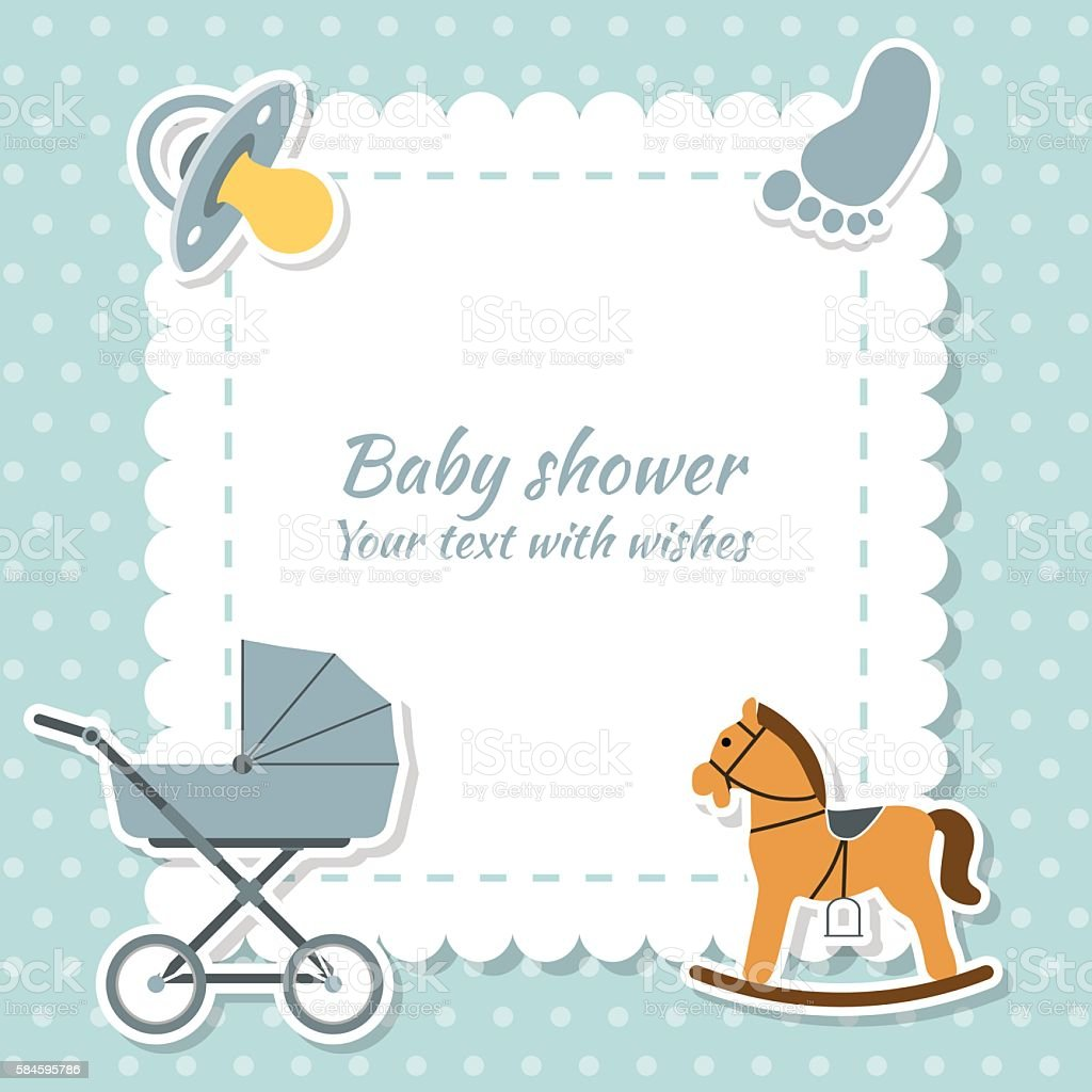 Baby Boy Greeting Card Baby Shower Stock Vector Art More Images Of