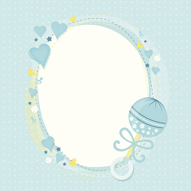 Baby boy greetings Blue hearts, yellow rubber ducks, pacifiers, stars, and infant boy icons form a decorative frame, with a ribbon trimmed rattle as an accent.  On a polka dotted background.   baby boys stock illustrations