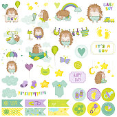 Baby Boy Hedgehog Scrapbook Set. Vector Scrapbooking. Decorative Elements