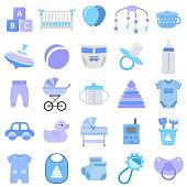 Baby boy icons set. Vector illustration.