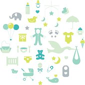 Modern baby icon set in boy theme. Easy to edit and recolor with global color swatches. Illustrator 10 compatible EPS file.