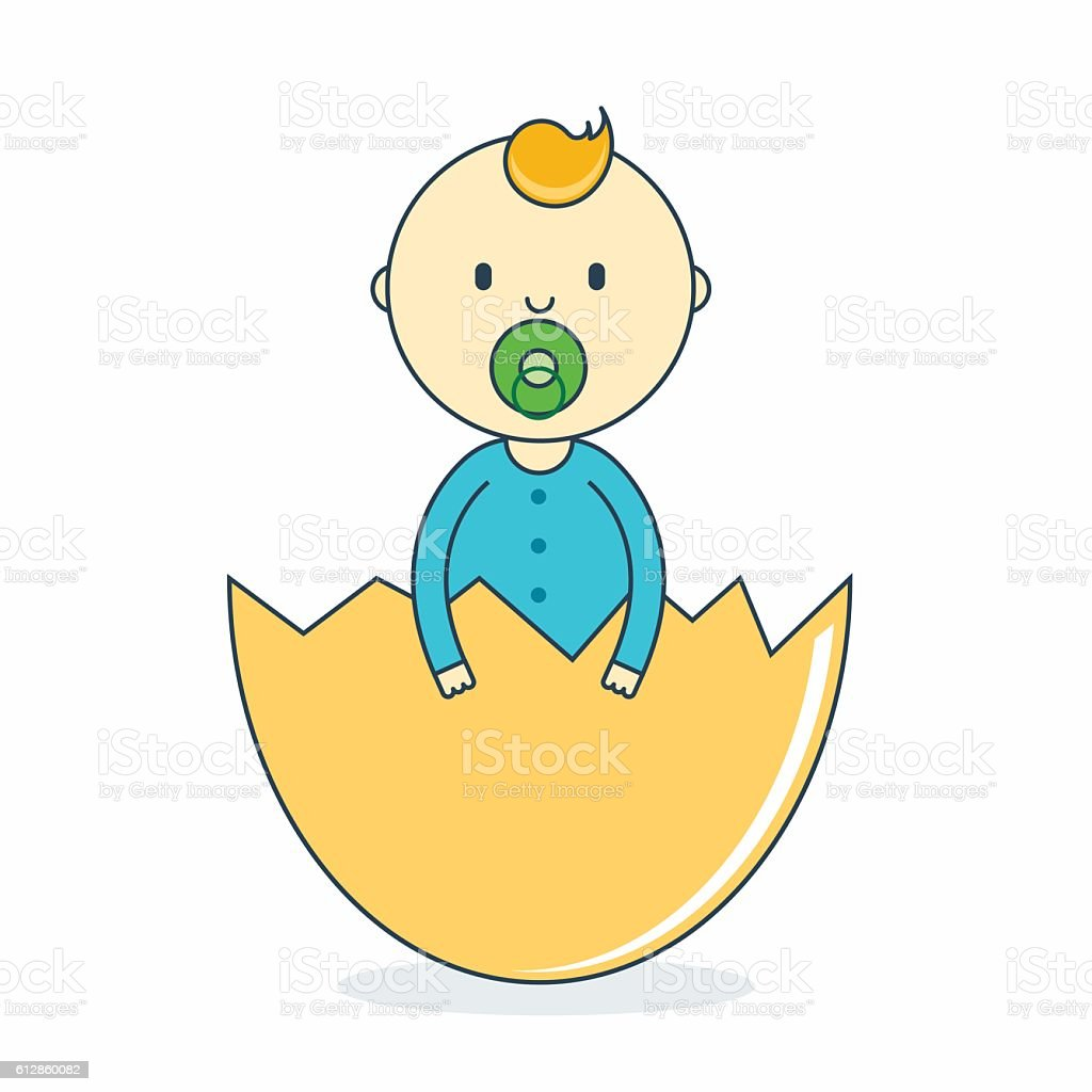 Baby boy in eggshell with pacifier. Newborn male in hatch vector art illustration