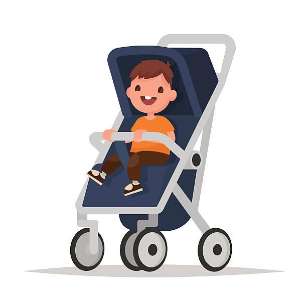 Baby boy in stroller on a white background. Vector illustration vector art illustration