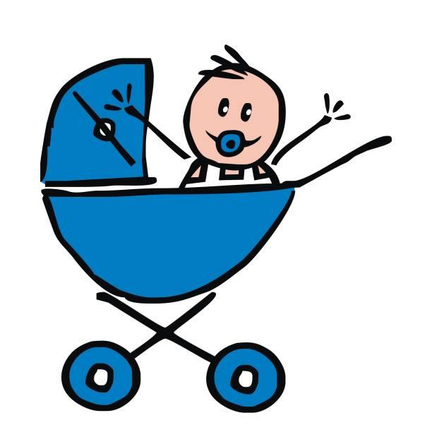 青い乳母車、面白いイラストで男の子の赤ちゃん ベクターアートイラスト