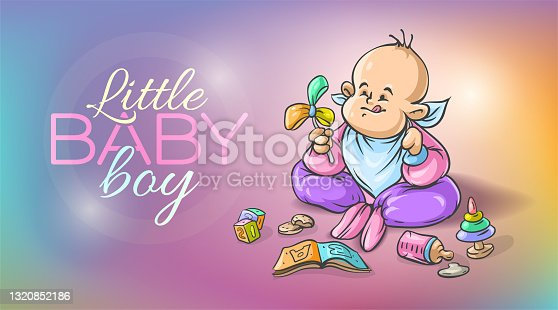 Bebé niño jugando con juguetes en el suelo. Ilustración vectorial.