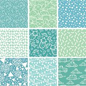 Hand drawn Vector set of nine seamless patterns backgrounds with a little baby boy and different baby objects: milk bottle, toy car, pin, heart, star, flower, teddy bear, baby socks, toys, baby carriage. Ai CS2, PDF, big JPEG and EPS8 files are included.