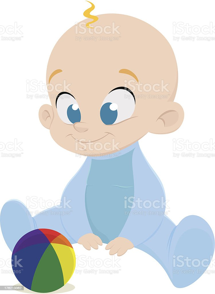 Baby Boy Playing with Ball vector art illustration