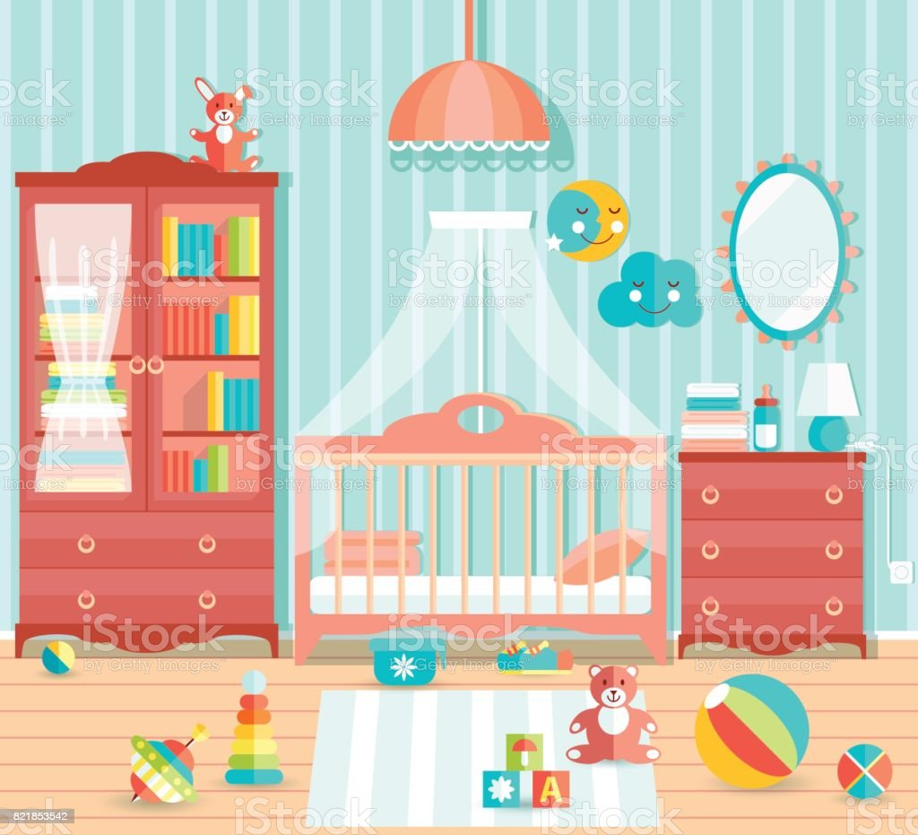 Baby Boy Room With Furniture Stylish Cute Blue Colors Flat Sty Stock Illustration Download Image Now Istock