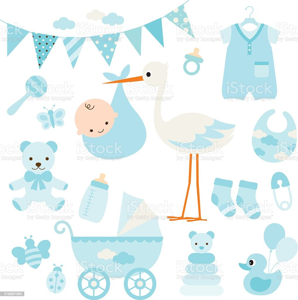 Baby Boy Shower and Baby Items vector art illustration