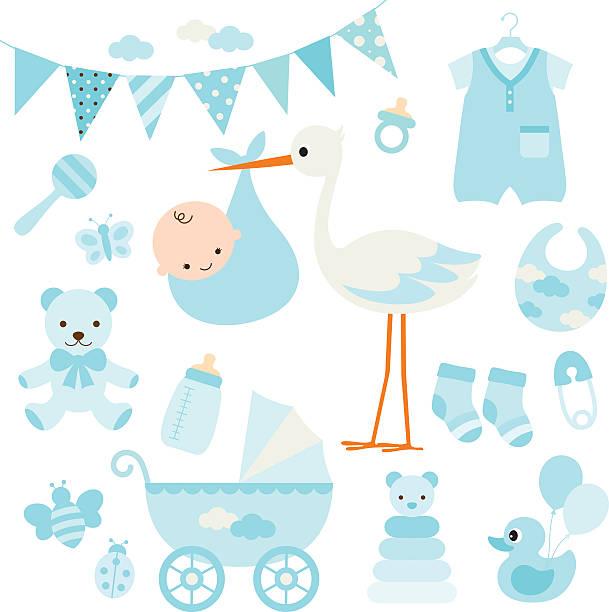 赤ちゃん男の子シャワーとベビー項目 - ベビーシャワー点のイラスト素材/クリップアート素材/マンガ素材/アイコン素材