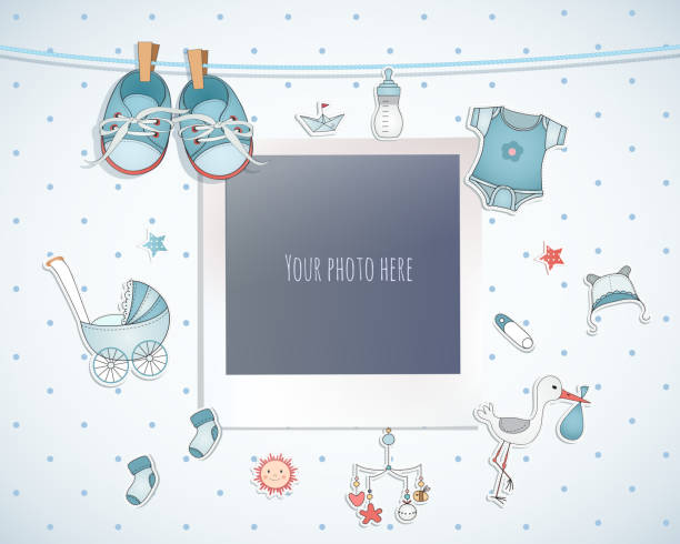 Baby boy shower card. Arrival card with place for your photo. Baby boy shower card. Arrival card with place for your photo. baby clothing stock illustrations
