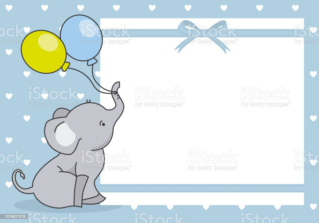 Download Baby Boy Shower Card Cute Elephant With Balloon Stock ...