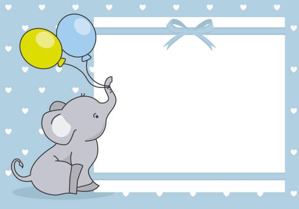 baby boy-dusche-karte. niedlichen elefanten mit ballon. - elefantenkunst stock-grafiken, -clipart, -cartoons und -symbole