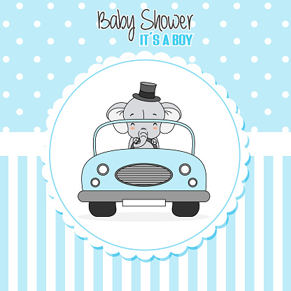 baby boy shower card. Elephant driven a car