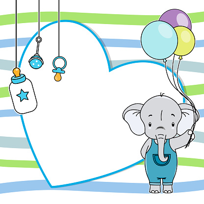 Baby boy shower card. Elephant with balloons. Space for text