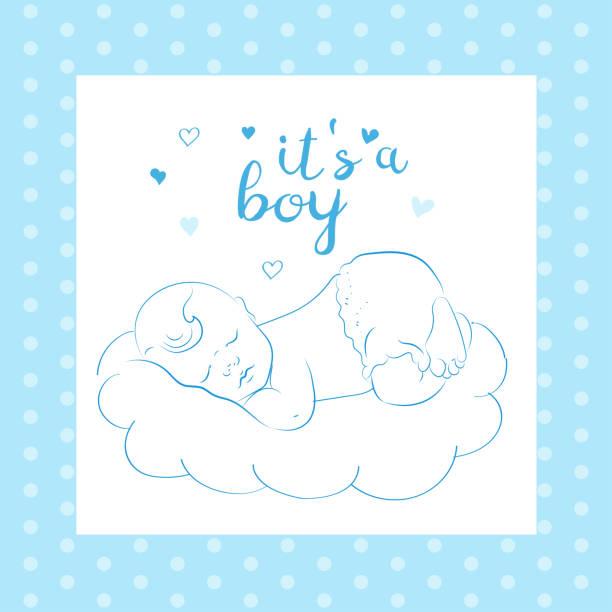 stockillustraties, clipart, cartoons en iconen met baby boy douche card. lovely baby slapen op een wolk. schattig kindje slapen. - alleen één jongensbaby