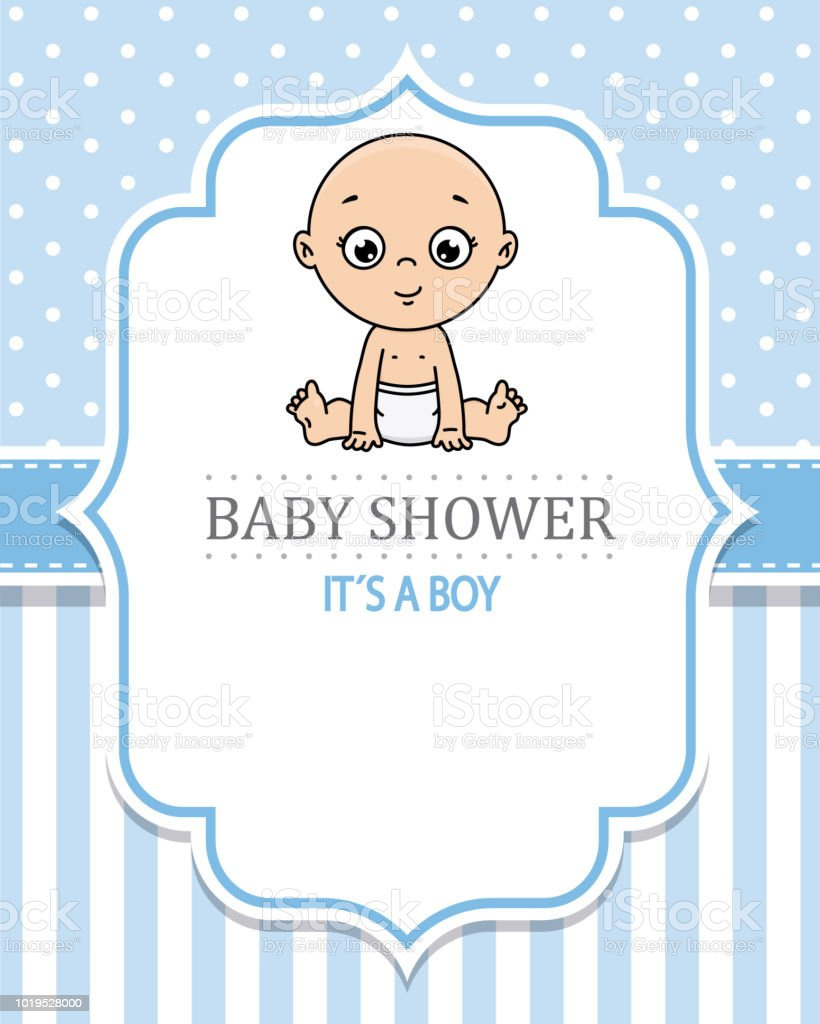Baby Boy Shower Card Stock Vector Art More Images Of Art Istock