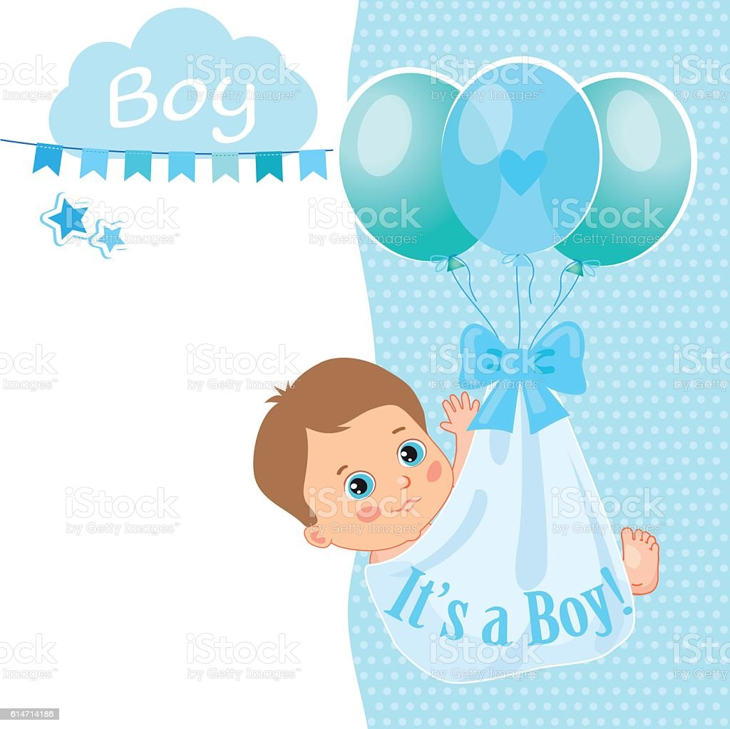Baby Boy Shower Card Vector Illustration. Card Template. Royalty Free Baby  Boy Shower