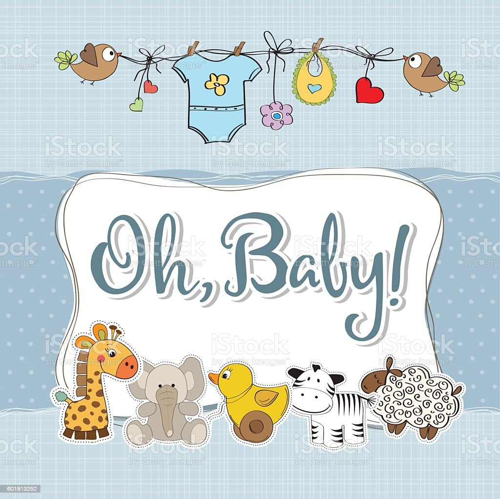 baby boy shower card with animals vector art illustration
