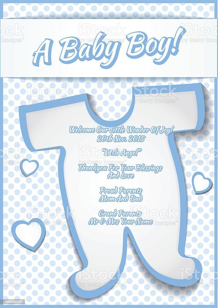baby boy shower greeting card vector illustration stock