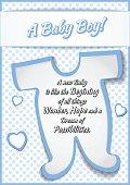 Baby Boy Shower Greeting Card Vector Illustration Design