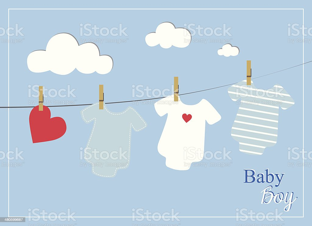 Baby Boy Shower Invitation Card Baby Bodysuits On Blue Background Stock Illustration Download Image Now Istock