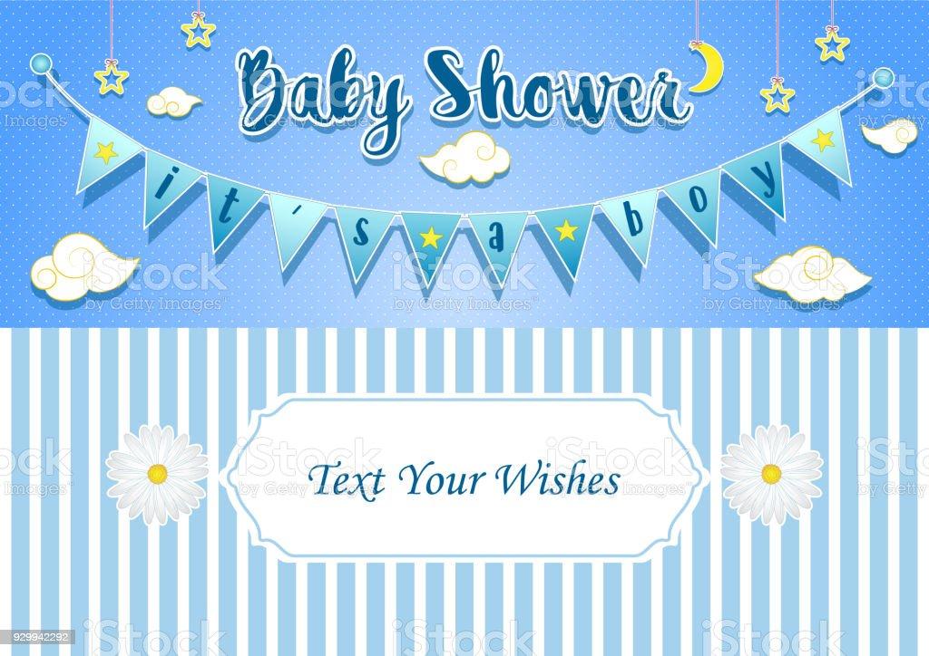 赤ちゃん男の子シャワーの招待状カード デザイン テンプレート