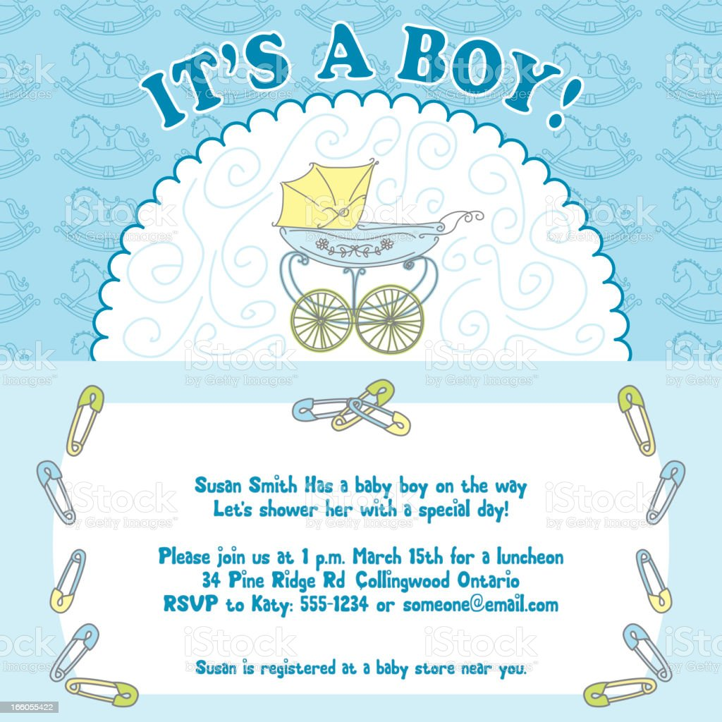 Baby Boy Shower Invitation Stock Vector Art & More Images of Baby ...