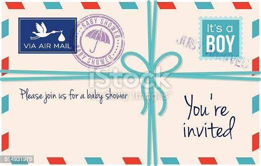istock Baby boy shower invotation letter 514931979