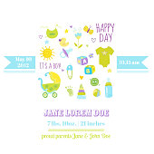 Baby Boy Shower or Arrival Card - with Cute Bodysuit