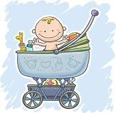 Baby boy sitting inside his stroller in colourful cartoon style