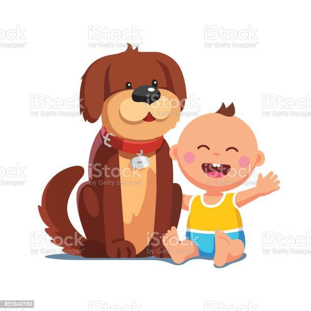 Baby boy sitting together with big brown dog vector id831640184?b=1&k=6&m=831640184&s=612x612&h=h5zk0t72hkjwunwrydrkyh2uyska9gcgpnion4kluow=
