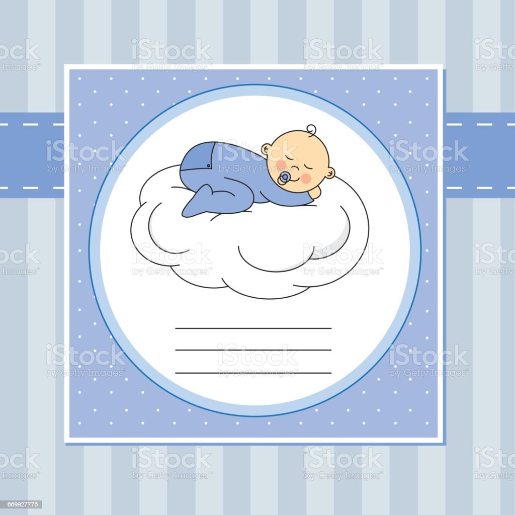baby boy sleeping on a cloud vector art illustration