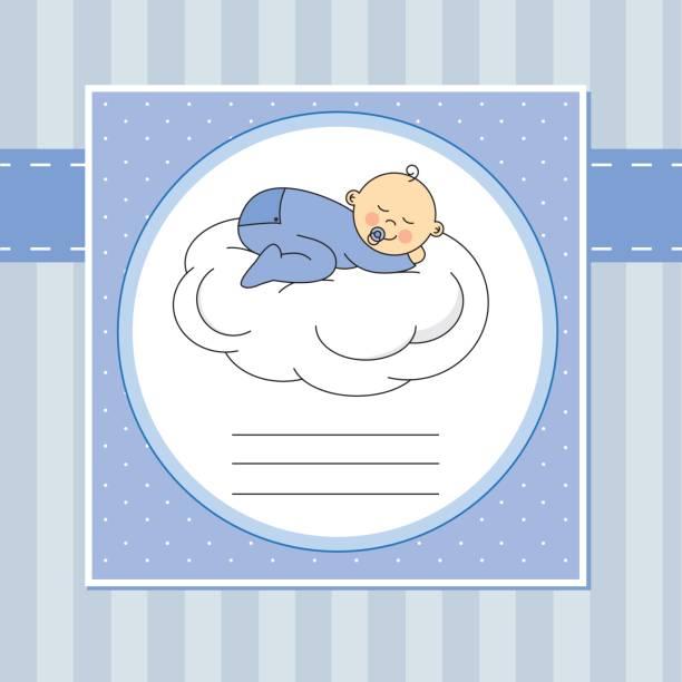 baby boy sleeping on a cloud vector art illustration
