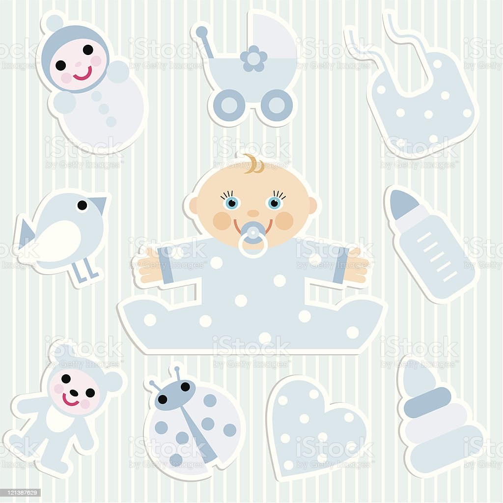baby boy stickers royalty-free stock vector art