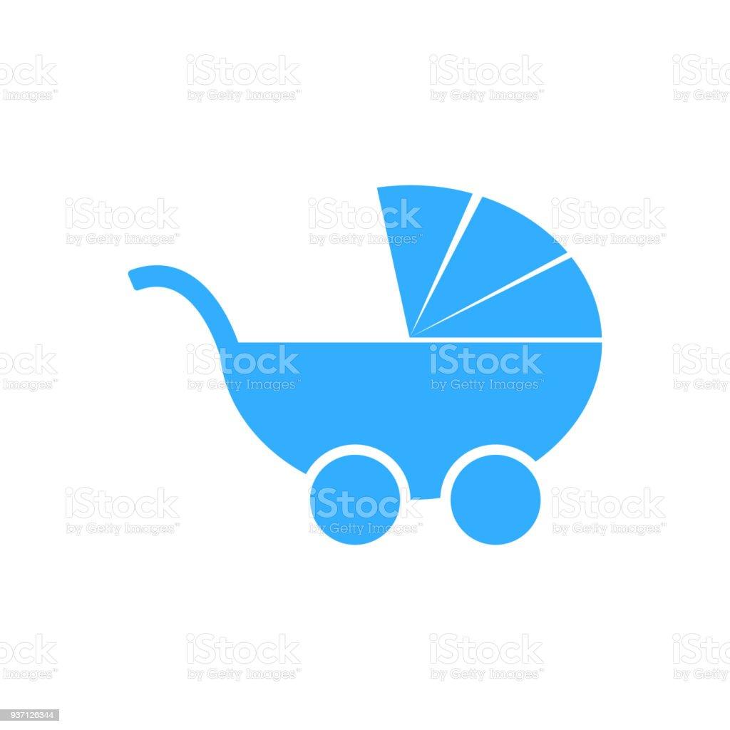 baby boy stroller icon isolated vector vector art illustration