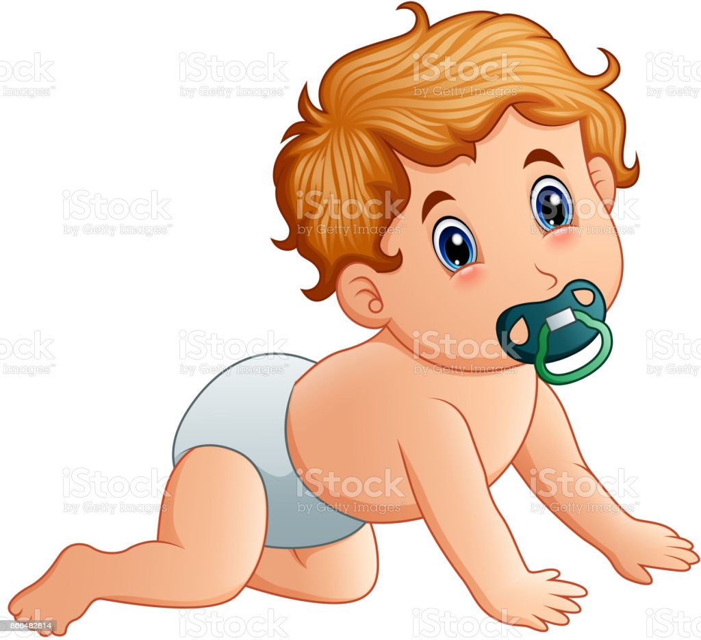 Baby boy sucking on pacifier
