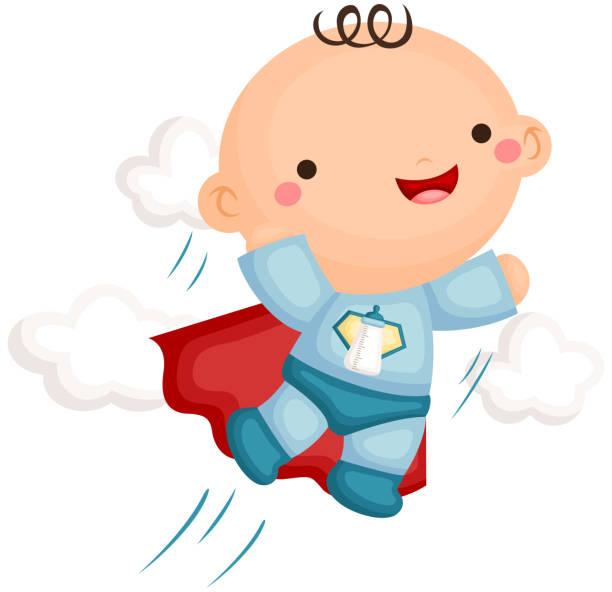 ilustrações de stock, clip art, desenhos animados e ícones de baby boy superheroes - super baby
