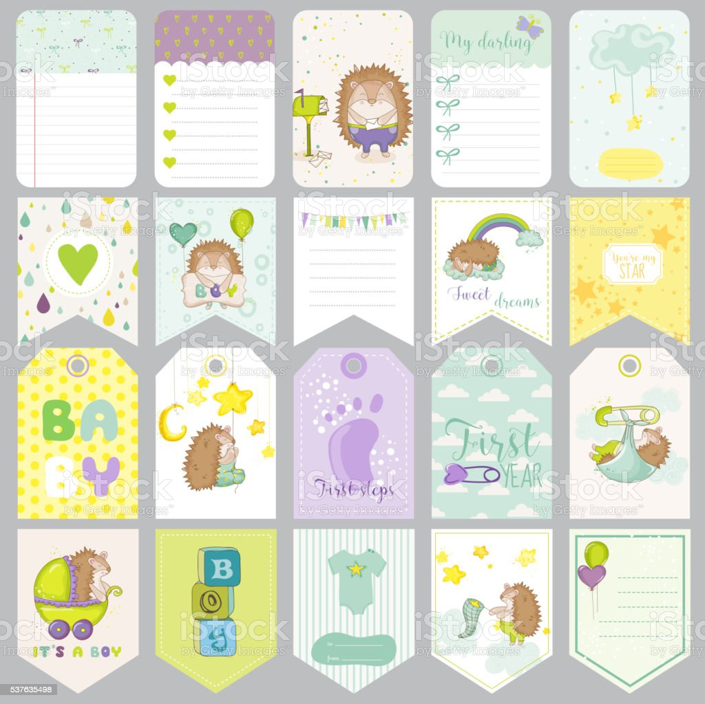 Baby Boy Tags Baby Banners Scrapbook Labels Cute Cards Vector Stock