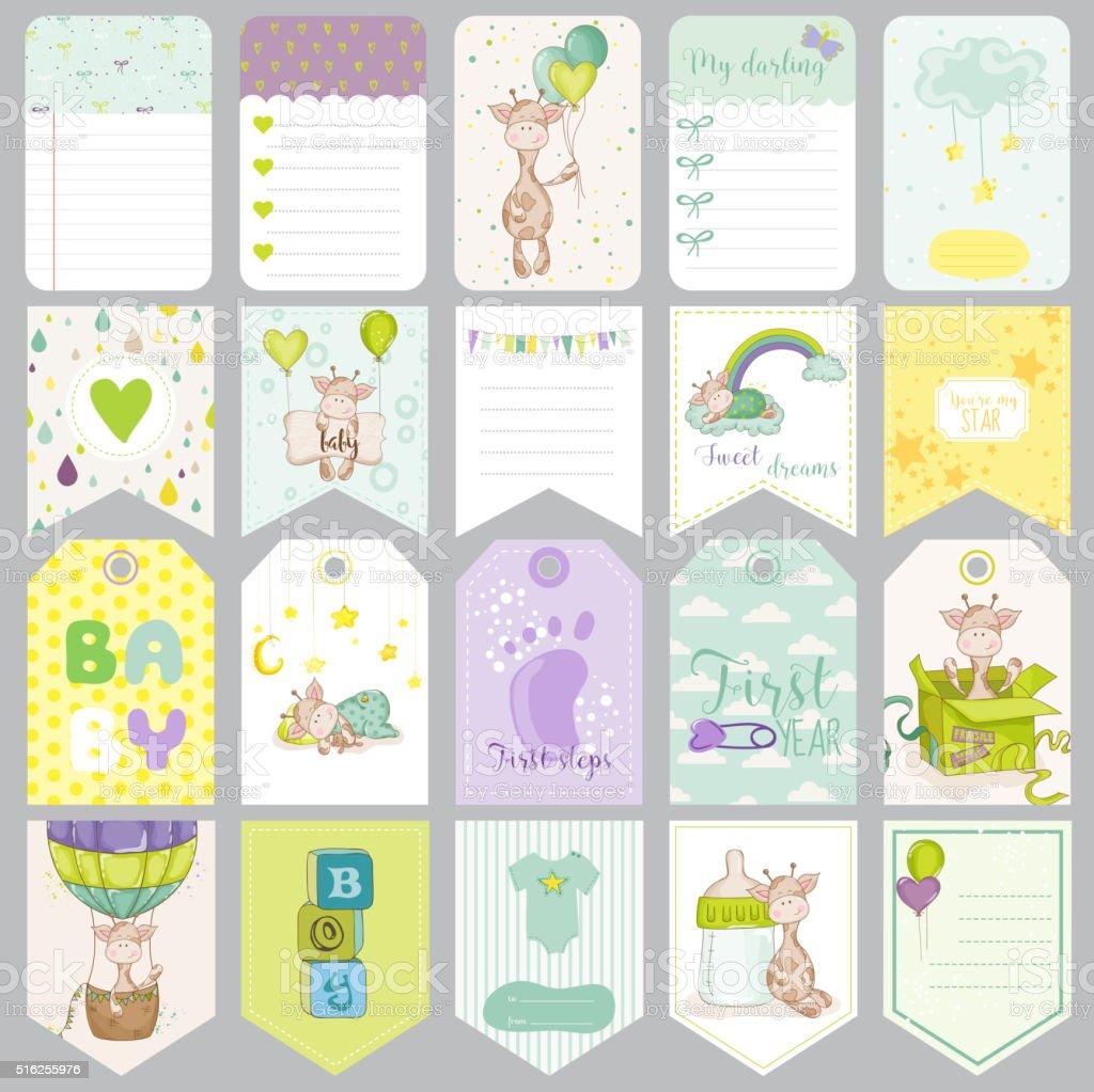 Etiquetas de bebé niño. Bebé Banners. Álbum de recuerdos etiquetas.  Elementos de diseño 33b1694953e5