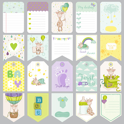 Baby Boy Tags. Baby Banners. Scrapbook Labels. Design Elements