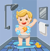 A baby boy taking a shower in bathroom with lot of soap lather and rubber duck. Illustration