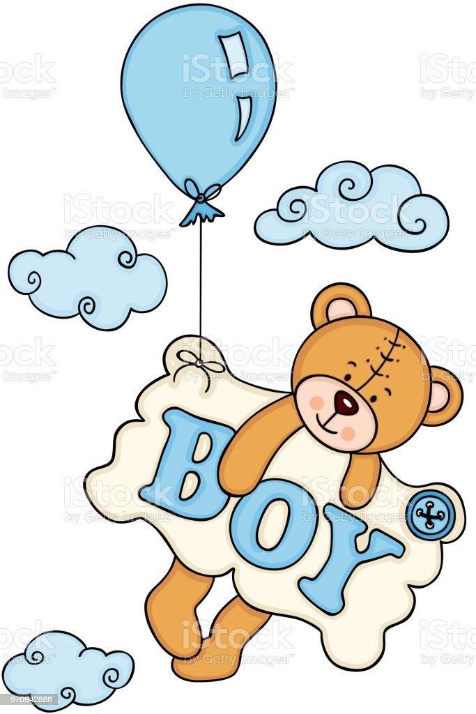 Vetores De Bebe Menino Ursinho Voando Com Balao E Uma Tabuleta E