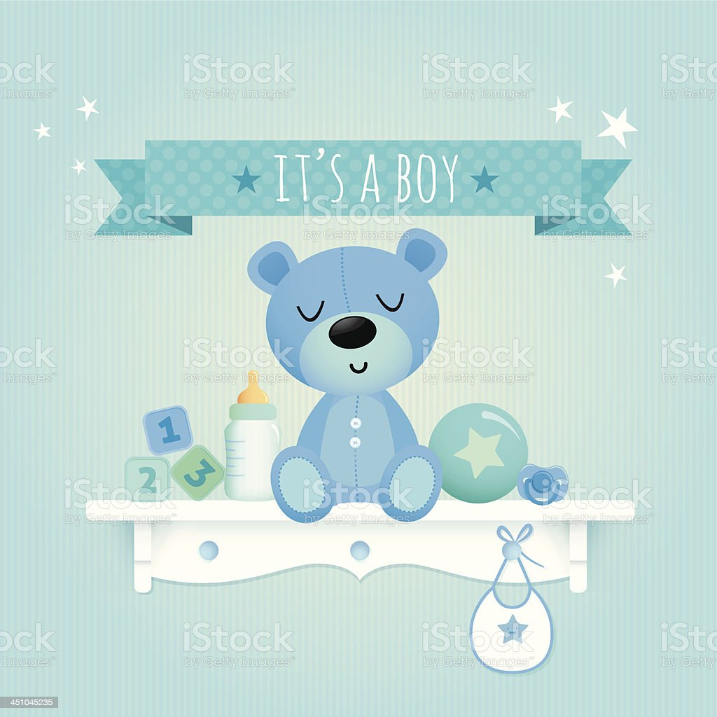 Baby boy teddy vector art illustration