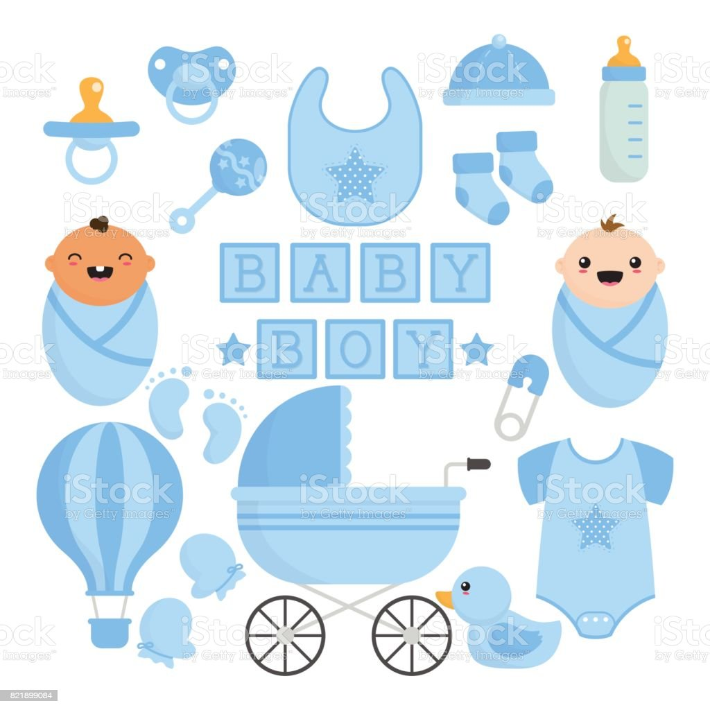 Baby Boy Things Collection vector art illustration