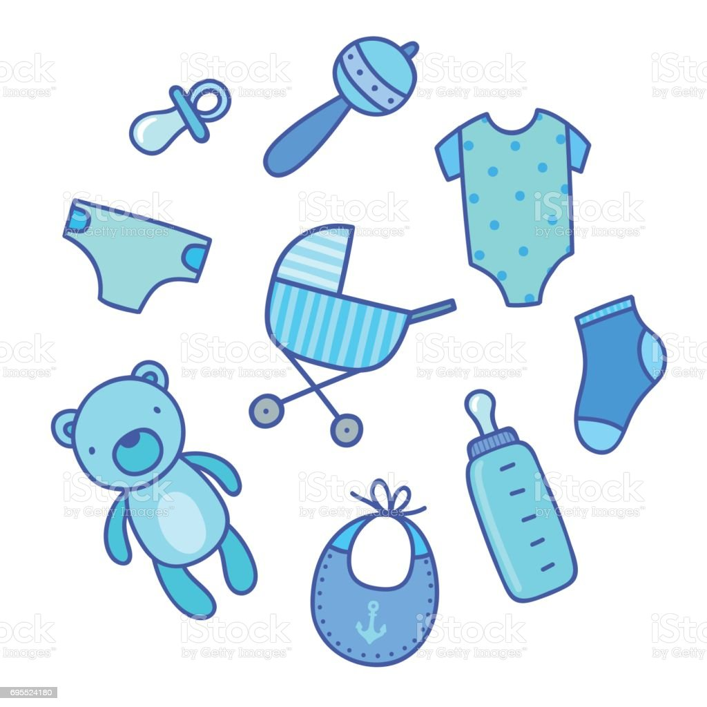 Baby Boy Things Stock Vector Art & More Images of Baby ...