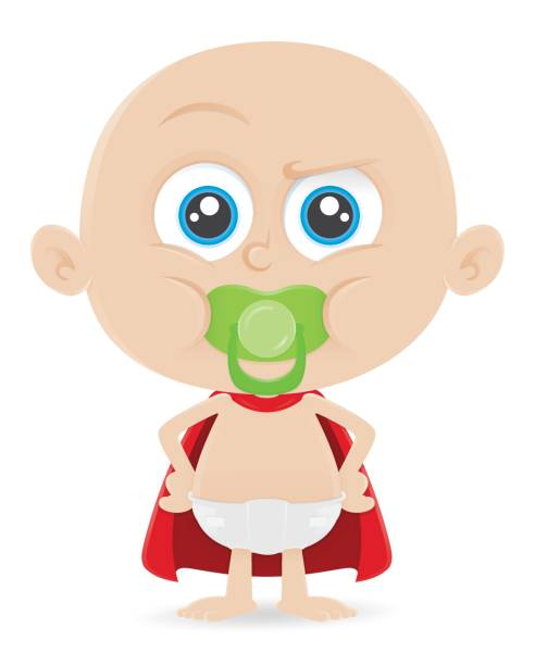 ilustrações de stock, clip art, desenhos animados e ícones de baby boy toddler kid superhero - super baby