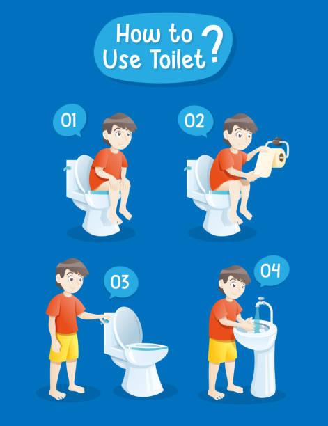 Cartoon peeing in toilet tank