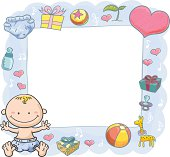 Baby Boy with orante frame in colourful cartoon style